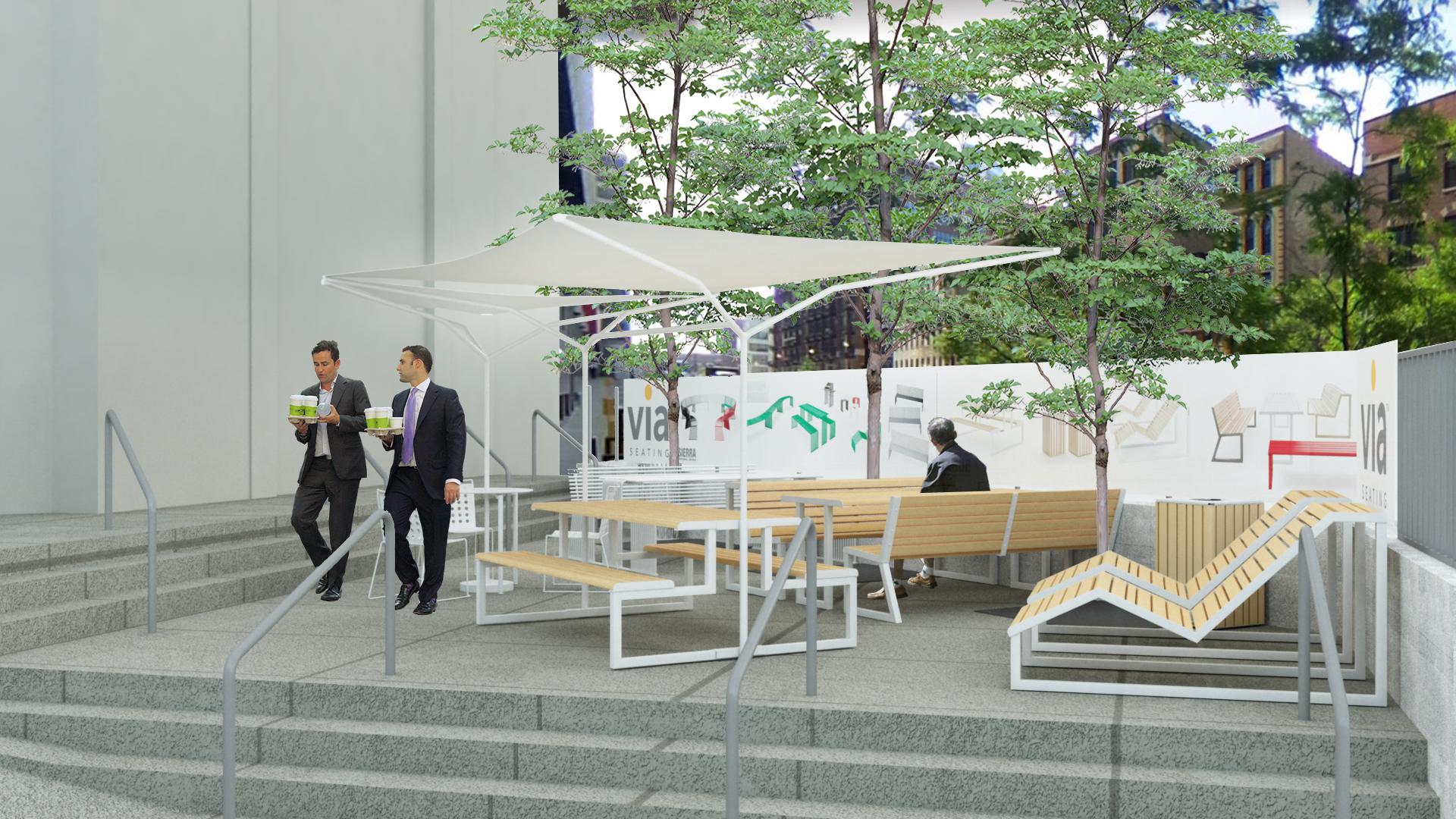 Outdoor Via Seating Italian Furniture Display This Neocon 51